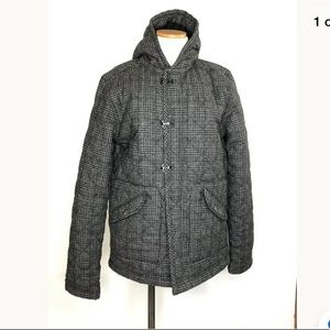 BDG quilted plaid hooded jacket coat